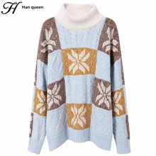 H han queen Loose Soft Women Turtleneck Pullover Long Sleeve Knitting Women Sweaters And Pullovers Female Korean Sweet Jumper(China)