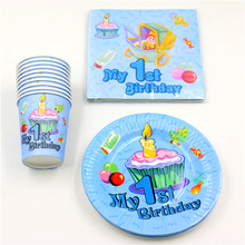 60pcs\lot Baby Shower Happy Decoration Boy Girl Paper Plates 1st Birthday Party Cups Kids Favors Napkins Tablecloth Supplies(China)