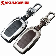 New arrival Zinc alloy+Leather Car Smart Key Cover Case For Toyota Camry Corolla Crown RAV4  Highlander 2015  Auto Accessories