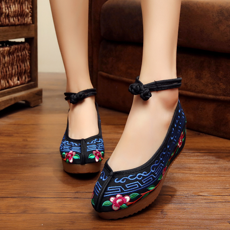 New spring Chinese style fashion Vintage wedge heels women Cloth shoes beautiful embroidery casual ladies pumps shoes woman<br><br>Aliexpress