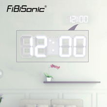 FiBiSonic LED Digital Alarm Clock 8888 the large wall clock saat home decor desktop clock Brightness Automatically Night snooze(China)