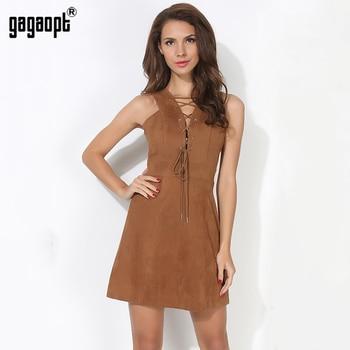 Gagaopt 2017 verão sexy women dress a-line curto vestidos de festa com decote em v sem mangas lace up casual primavera túnicas vestidos