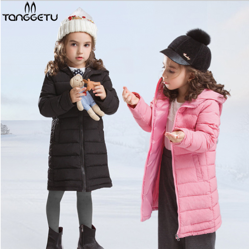 Tanggetu 2018 Fashion Girls winter down Jackets Children Coats warm baby 100% thick Down Cotton Kids Girl  Outerwears for jacket<br>