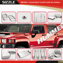 ABS Chrome Accessoreis For HUMMER H3 06-10 26pcs Hood Fender Air Vent Mirror Door Handle Tail Light Gas Tank Cover