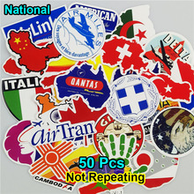 Mix 50 PCS National Flags & Random Stickers for Laptop Bag Handbag Toy Car Styling Doodle DIY Sticker Creative Decal Not Repeat(China)
