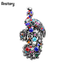 Ancient Design Vintage Look Tibetan Alloy Antique Silver Plated Delicate Crystal Rhinestone Peacock Rings TR352