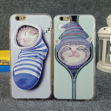 Lovely cartoon cat Back Case Cover For iPhone 6 case Socks cat pattern for iPhone 6 4.7'' Mobile Phone shell CSJK0213
