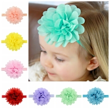 1pcs Solid Elastic Headband Chiffon Flower Hair Band Newborn Headwear Kids Hair Accessories 584