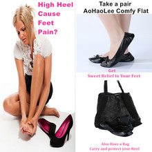 Aohaolee Soft&Comfortable women shoes Foldable ballet flat take you sweet relax&relief from heel pain in time safe driving shoes(China)
