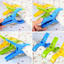 4Pcs/Set Durable Latest Bright Colors Beach Towel Clips Plastic Pegs Spring Clothes Pins(China)