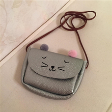 2017 Cute Children PU Leather Cat bag Kid's   Shoulder Messenger Bag Girl Shoulder Bag Coin Mini Purses Toddler Wallet