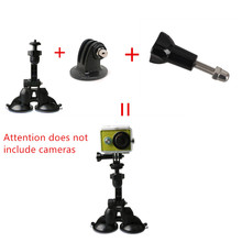 Gopro Accessories Car Double Sucker Holder Mount Suction Cup Bracket for GoPro Hero SJ4000 SJ5000 Mini Camcorder Action Camera