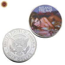 WR United States First Lady Melania Trump Challenge Coin Commemorative Silver Plated Coin Art Crafts Unique Silver Coin