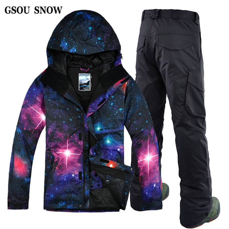 GSOU SOWN Men's New Korea Waterproof Windproof Breathable Ski Suit Double Board Single Board Starry Sky Ski Suit Male NEW(China (Mainland))