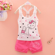 New summer fashion kids clothes girl clothing Sets Cuten Hello kitty T-shirt and shorts baby girls clothes 2pcs