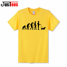 Funny Dog pet Evolution T-shirts Men's Creative Design Summer Tee shirts Casual Streetwear Cotton Tops New Funny T shirts Yellow
