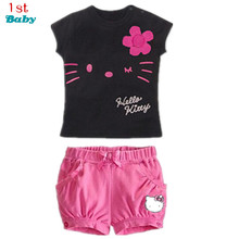 Drop Shipping New 2017 Children Hello Kitty Sets Girls Sport Clothing Set Baby Kids Clothes Cute Top Tees T Shirt Shorts Pants