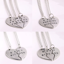 Fashion 2Or3 Pc/Set Best Bitches Friend Gifts Heart Broken Silver Plated Chain Jewelry Women's Men's BFF Pendant Necklace Charms