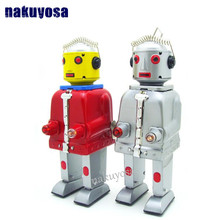 Red grey color handmade Mr Iron Robot Metal toys Vintage robot Clockwork Wind Up Tin Educational home decoration Retro Toys Perf