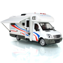 1:32 travel acousto-optic Caravan Recreational Vehicle RV CAR pull back car with sound light children's toy touring bus