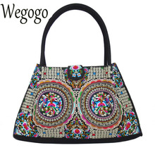 Vintage Women Handbag Embroidery Canvas Bag Boho Manadla Handbag Double Side Embroidered Girls Canvas Shoulder Bag Female Tote(China)