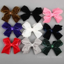"9pcs 4.5"" Mixed 9 Color Velvet Ribbon Hair Bow Girl Hair Bow Boutique hairbow Hair Accessories Without Clips"