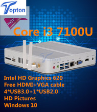 Hot Mini PC Windows i3 7100U HDMI+VGA Mini PC i3 minipc 4K HTPC Intel HD Graphics 620 Fanless PC(China)