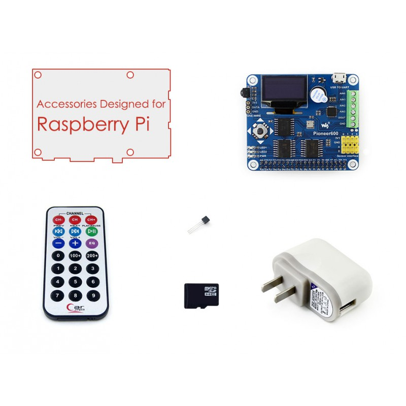 Raspberry Pi A+/B+/2 B/3B Accessories Pack B including Expansion Board Pioneer600 SD Card, IR Controller, etc.<br>