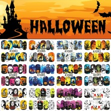 12 Sheets Halloween Nail Art Water Transfer Sticker Deer Full Cover Decals Skull Cool Stickers Wrap Tips Decoration A1081-1092