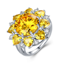 Atreus 1pc Yellow CZ Zircon Sparkling Flower Rings For Women Wedding Anillos Band Zircon Silver Color Rings Size 6-9 Wholesale