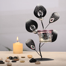 Retro Candle Holders Metal Peacock Candlestick Wedding Candelabra Decoration Home Decor 21*12.5cm(China)