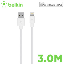3m-long Belkin Original MFi Certified 8 pin for Lightning to USB Long Cable 2.4A for iPhone 7 Plus 6s SE for iPad Pro mini