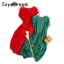 Women Silk dress 100% Natural silk Long dress solid cheer Chiffon silk classic dress 2017 Spring Red Green White