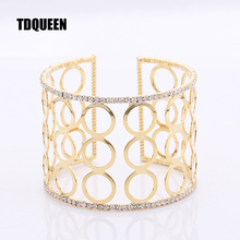 TDQUEEN Wide Cuff Bangles And Bracelets For Woman Best Friend New Christmas Gift Round Opening Slave Wristband Hand Arm Jewelry(China)