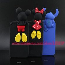 Cute 3D Silicon Big Head Mickey Minnie Stitch Back Creativity Cartoon Style Soft Cell Phone Back Skin Case for iphone 4 4s Cover