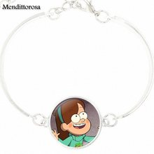 Gravity Falls Mabel Pig Drink Happy Christmas Jewelry With Silver Plated Glass Cabochon Bracelet Bangle For Girls Wholesale(China)