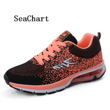 SeaChart Women Men's Running Shoes Couple Shoes Light Sport Athletic Air Cushion Sneakers Uomo chaussures Fabric upper EVA sole