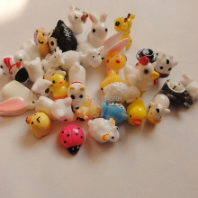 30pcs/lot new sheep/Snowman/duck/owl/rabbit/dog/deer mix solid animal Toy Resin Christmas Children Gift Home Decoration Crafts