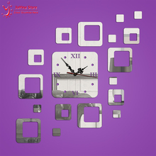 18Pcs/Set Acrylic 3D Mirror Wall Clocks Square DIY Creative  Luxury Needle Quartz Wall Watch Modern Design For Living Room