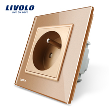 Livolo New Outlet 16A French Standard Wall Power Socket, VL-C7C1FR-13, Gold Crystal Glass Panel, AC 100~250V(China)