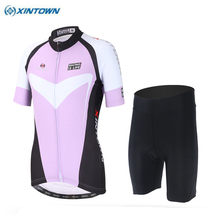 2017 XINTOWN Breathable Ropa Ciclismo Cycling Sport Jerseys Women's Bicycle Clothing Mountain Bike Shirts Shorts Sets Lavender