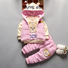3pcs Winter Baby Girl Boys  Warm Plus Velvet Thicken Vest Hoodies Jacket Padded Sweatshirts Pants Suit Kids Clothing Sets