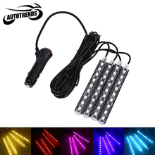 Universal Car Pure Color Interior Decorative LED Light Waterproof 12V 6000K Atmosphere Lamp with Four Light Strips 5 Colors