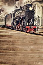 5x7FT Vintage Street Steam Train Locomotive Rail Custom Photo Studio Backdrop Background Vinyl 220cm x 150cm