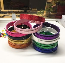 wholesale price 1pcs  600*20mm(width)*8mm Sequin PU Leather Fit Pet Gog Collars Can Through 8mm Slide charms