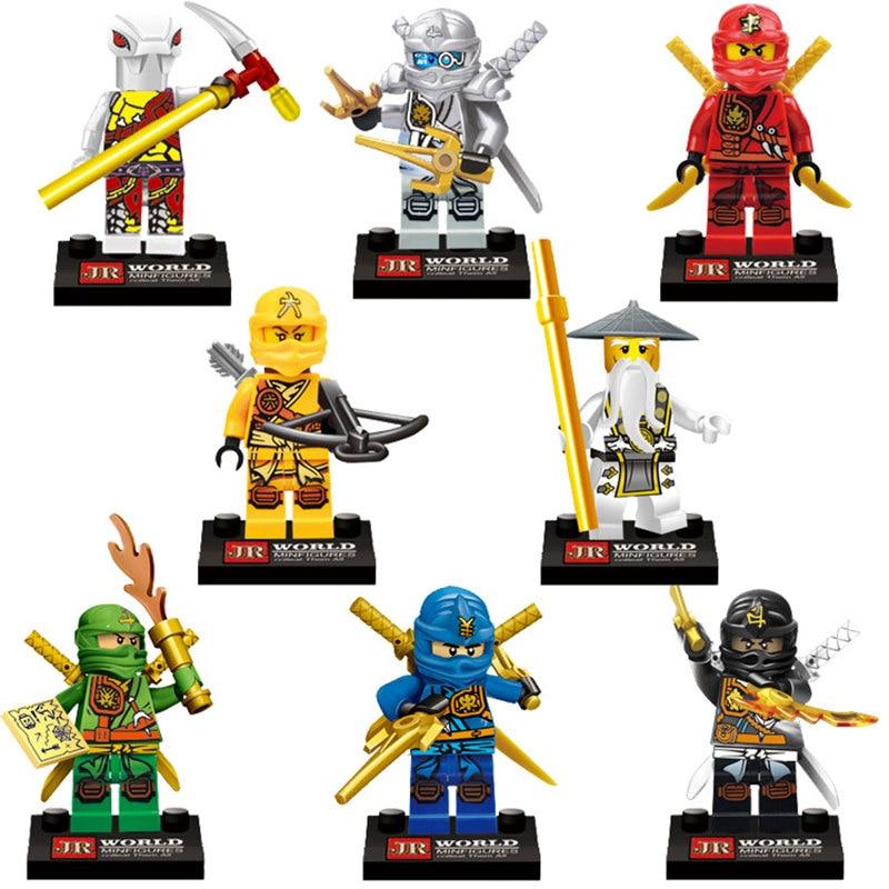 8Pcs/lot Ninjagoes Building Blocks Ninja Jay Lloyd Action Figures Toy Bricks Model For Children Gift Compatible Legoes <br>