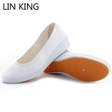 LIN KING New Fashion Women Flat Shoes Round Toe Thick Sole Soft Ankle Shoes Low Top Flock Slip-on Massage Anti-skid Single Shoes