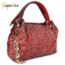 Guapabien Fashion Brand Wedding Women Bag Ombre Shoulder Bags OL Party PU Leather Tote Bag Red Gray Hollow Out Ladies Handbag