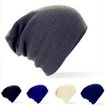 Hot Men Women New Winter Caps Solid Color Hat Unisex Soft Warm Plain Knit Beanie Skull Cap CC2609