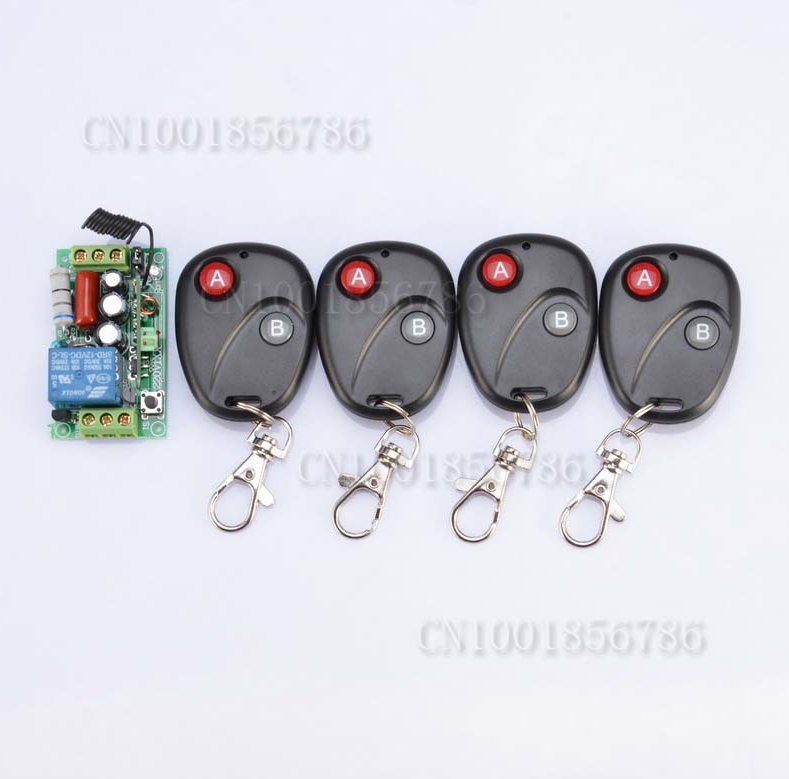 Free shipping RF Wireless Remote Control Switch 220V 1CH 10A 1Receiver&amp;4Transmitter Light Lamp LED SMD A ON B OFF light control<br><br>Aliexpress